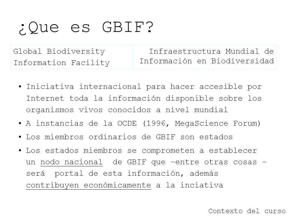 ¿Que es GBIF? Contexto del curso Iniciativa internacional para hacer accesible por Internet toda la información disponible sobre los organismos vivos