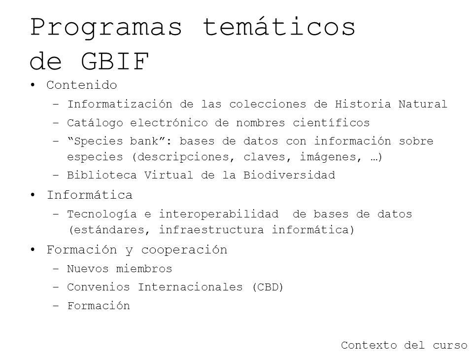 Programas temáticos de GBIF Contenido –Informatización de las colecciones de Historia Natural –Catálogo electrónico de nombres científicos –Species ba