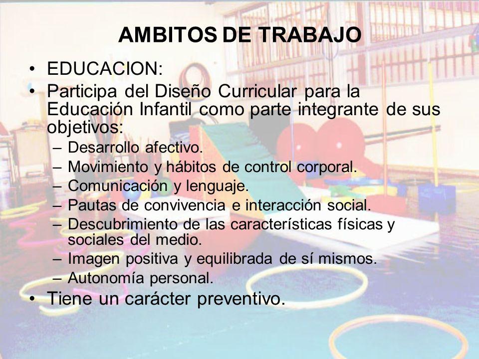 AMBITOS DE TRABAJO EDUCACION: Participa del Diseño Curricular para la Educación Infantil como parte integrante de sus objetivos: –Desarrollo afectivo.