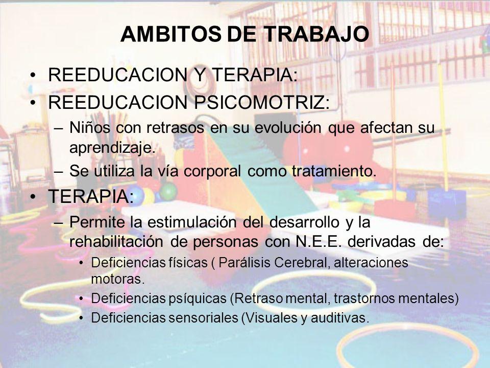 AMBITOS DE TRABAJO REEDUCACION Y TERAPIA: REEDUCACION PSICOMOTRIZ: –Niños con retrasos en su evolución que afectan su aprendizaje. –Se utiliza la vía