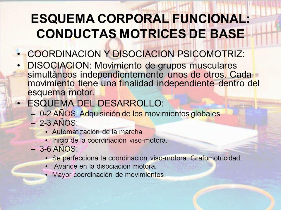 ESQUEMA CORPORAL FUNCIONAL: CONDUCTAS MOTRICES DE BASE COORDINACION Y DISOCIACION PSICOMOTRIZ: DISOCIACION: Movimiento de grupos musculares simultáneo