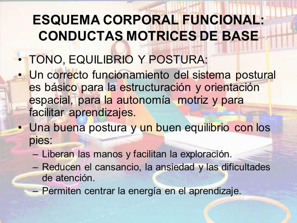 ESQUEMA CORPORAL FUNCIONAL: CONDUCTAS MOTRICES DE BASE TONO, EQUILIBRIO Y POSTURA: Un correcto funcionamiento del sistema postural es básico para la e