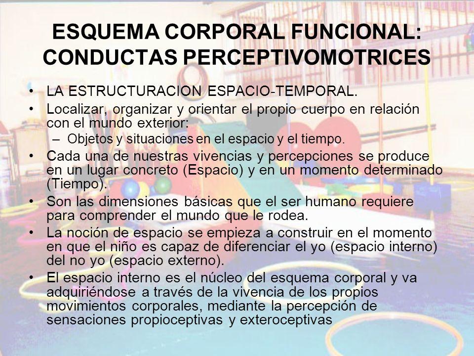 ESQUEMA CORPORAL FUNCIONAL: CONDUCTAS PERCEPTIVOMOTRICES LA ESTRUCTURACION ESPACIO-TEMPORAL. Localizar, organizar y orientar el propio cuerpo en relac