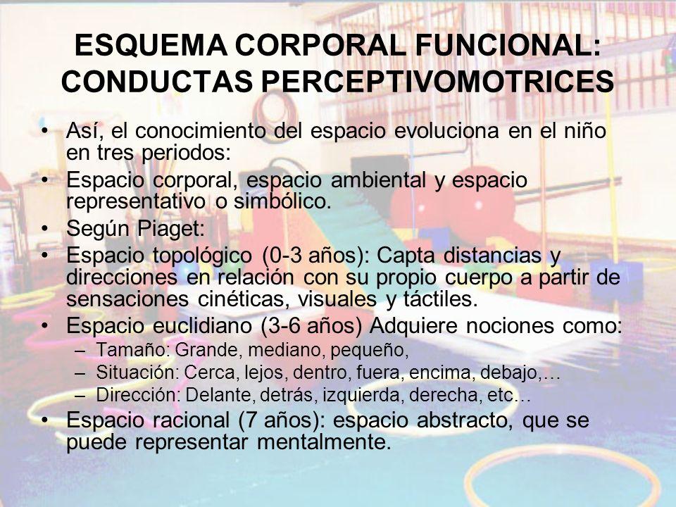 ESQUEMA CORPORAL FUNCIONAL: CONDUCTAS PERCEPTIVOMOTRICES Así, el conocimiento del espacio evoluciona en el niño en tres periodos: Espacio corporal, es