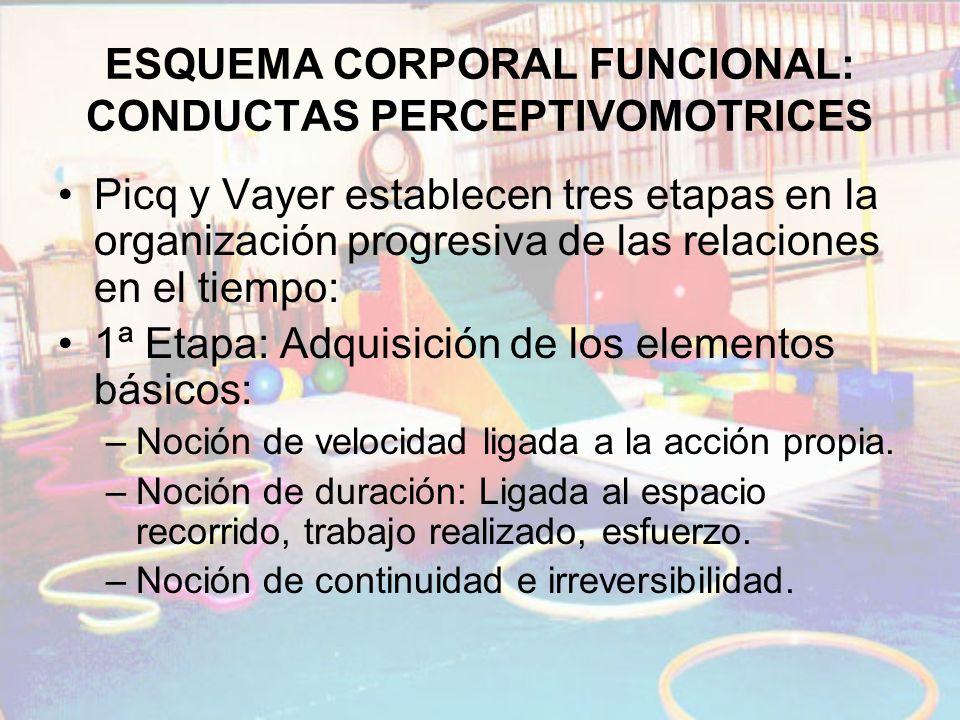 ESQUEMA CORPORAL FUNCIONAL: CONDUCTAS PERCEPTIVOMOTRICES Picq y Vayer establecen tres etapas en la organización progresiva de las relaciones en el tie