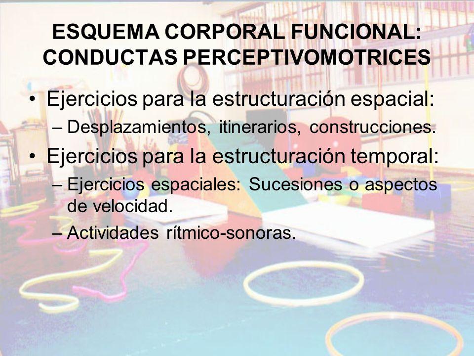 ESQUEMA CORPORAL FUNCIONAL: CONDUCTAS PERCEPTIVOMOTRICES Ejercicios para la estructuración espacial: –Desplazamientos, itinerarios, construcciones. Ej