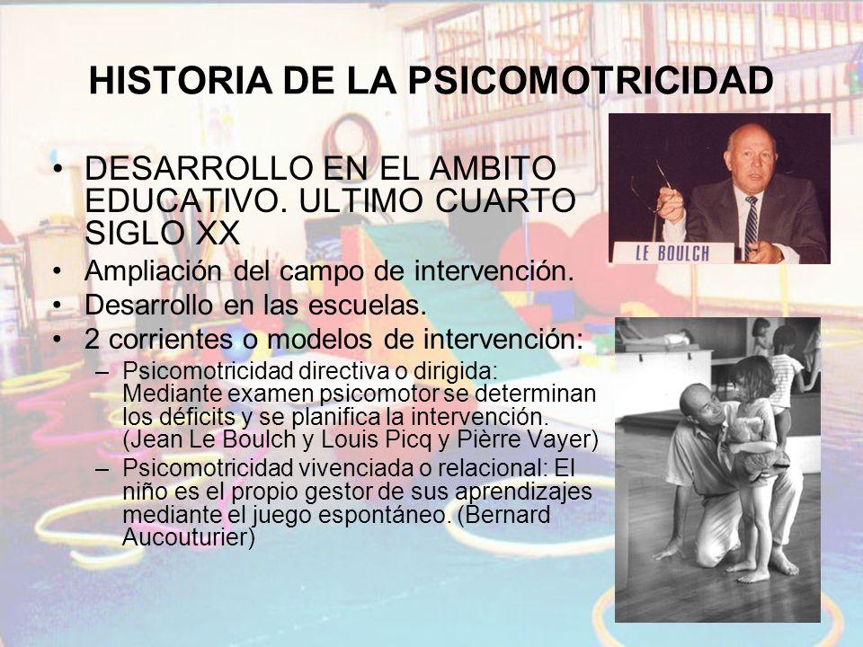 HISTORIA DE LA PSICOMOTRICIDAD DESARROLLO EN EL AMBITO EDUCATIVO. ULTIMO CUARTO SIGLO XX Ampliación del campo de intervención. Desarrollo en las escue