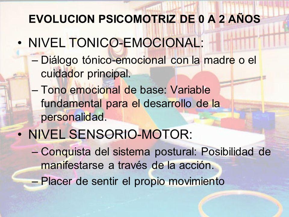 EVOLUCION PSICOMOTRIZ DE 0 A 2 AÑOS NIVEL TONICO-EMOCIONAL: –Diálogo tónico-emocional con la madre o el cuidador principal. –Tono emocional de base: V