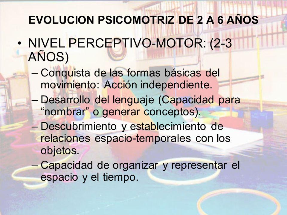 EVOLUCION PSICOMOTRIZ DE 2 A 6 AÑOS NIVEL PERCEPTIVO-MOTOR: (2-3 AÑOS) –Conquista de las formas básicas del movimiento: Acción independiente. –Desarro