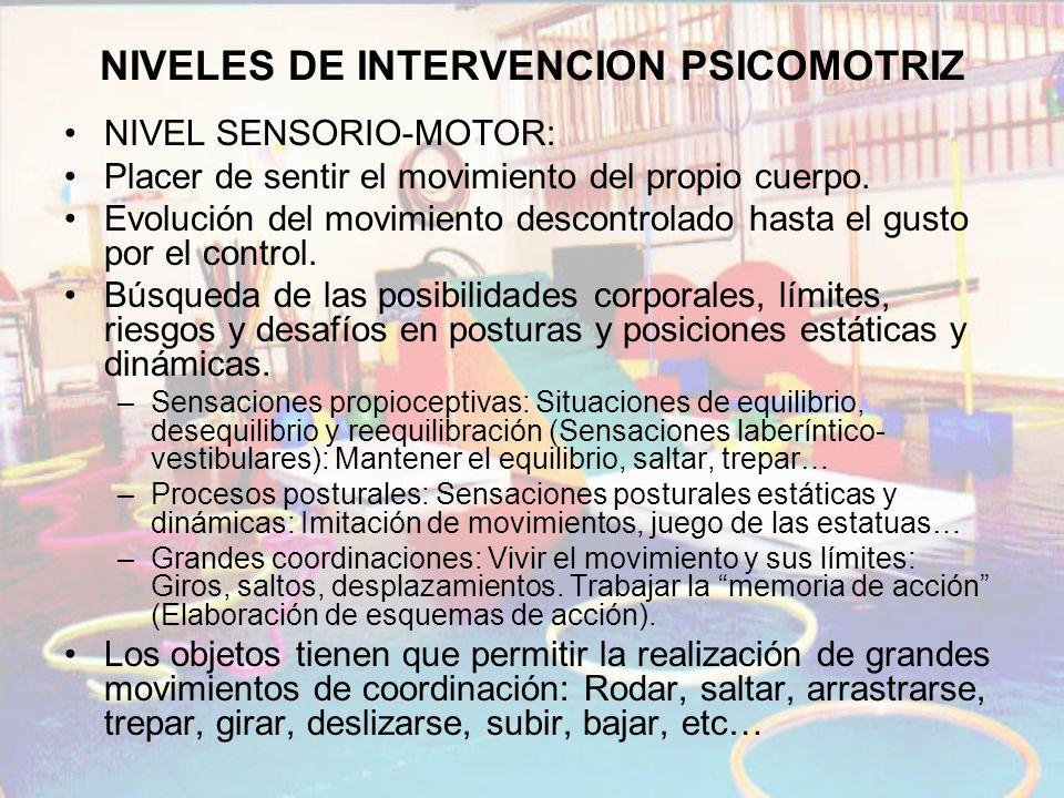 NIVELES DE INTERVENCION PSICOMOTRIZ NIVEL SENSORIO-MOTOR: Placer de sentir el movimiento del propio cuerpo. Evolución del movimiento descontrolado has