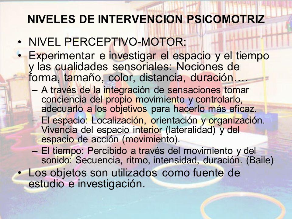 NIVELES DE INTERVENCION PSICOMOTRIZ NIVEL PERCEPTIVO-MOTOR: Experimentar e investigar el espacio y el tiempo y las cualidades sensoriales: Nociones de