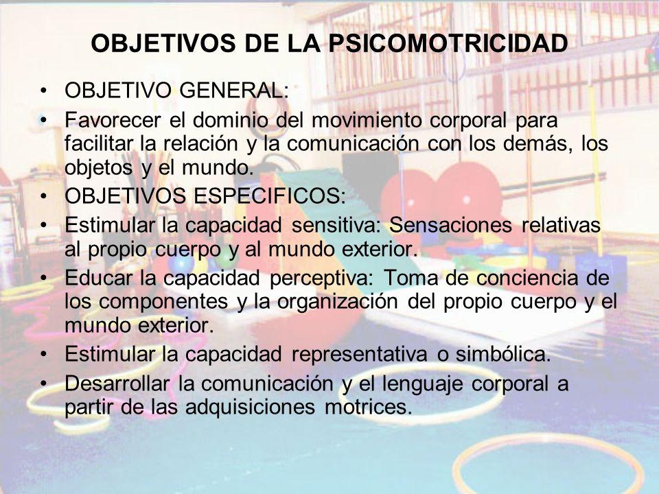 OBJETIVOS DE LA PSICOMOTRICIDAD OBJETIVO GENERAL: Favorecer el dominio del movimiento corporal para facilitar la relación y la comunicación con los de