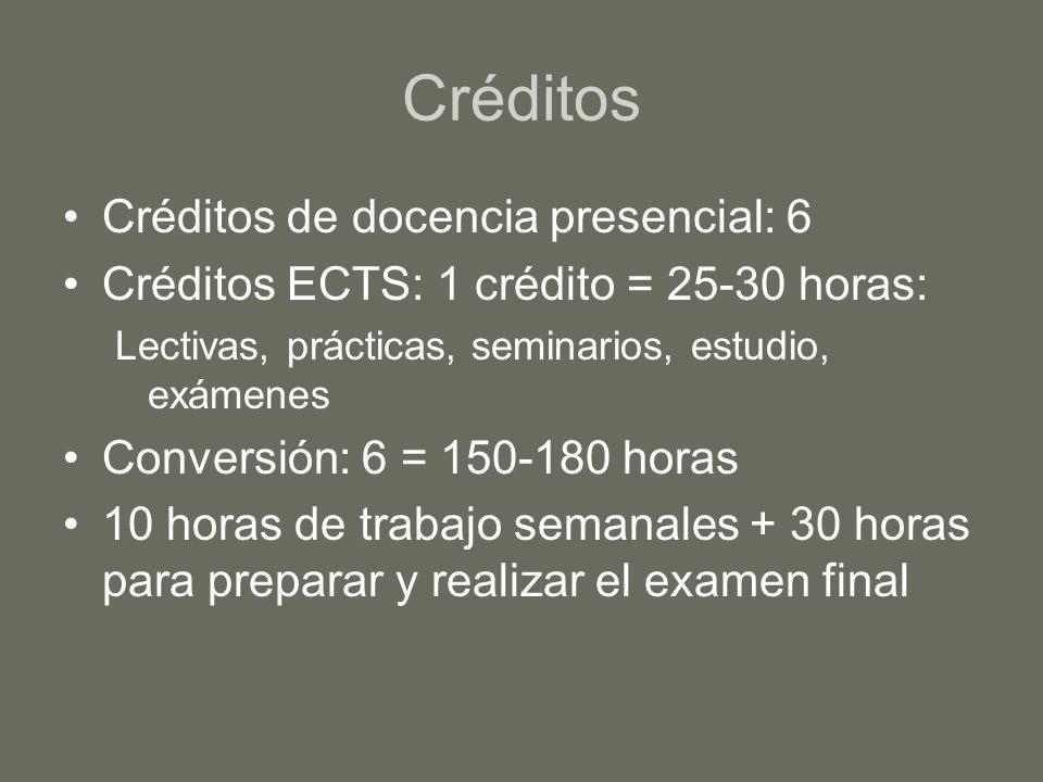 Créditos Créditos de docencia presencial: 6 Créditos ECTS: 1 crédito = 25-30 horas: Lectivas, prácticas, seminarios, estudio, exámenes Conversión: 6 =