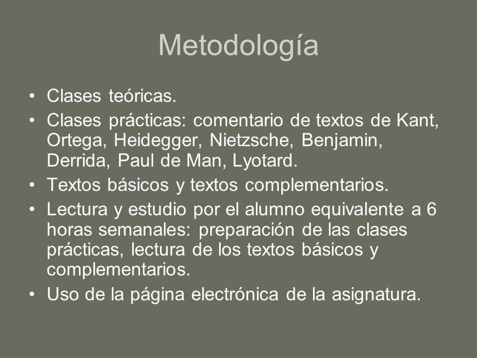 Metodología Clases teóricas. Clases prácticas: comentario de textos de Kant, Ortega, Heidegger, Nietzsche, Benjamin, Derrida, Paul de Man, Lyotard. Te