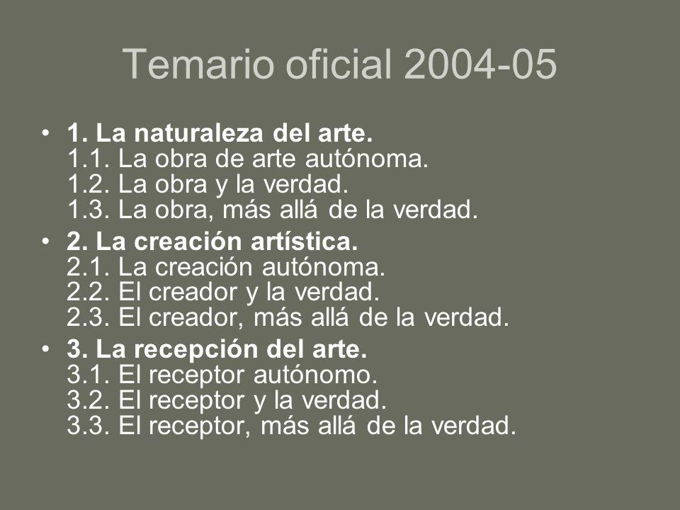 Temario oficial 2004-05 1. La naturaleza del arte. 1.1. La obra de arte autónoma. 1.2. La obra y la verdad. 1.3. La obra, más allá de la verdad. 2. La