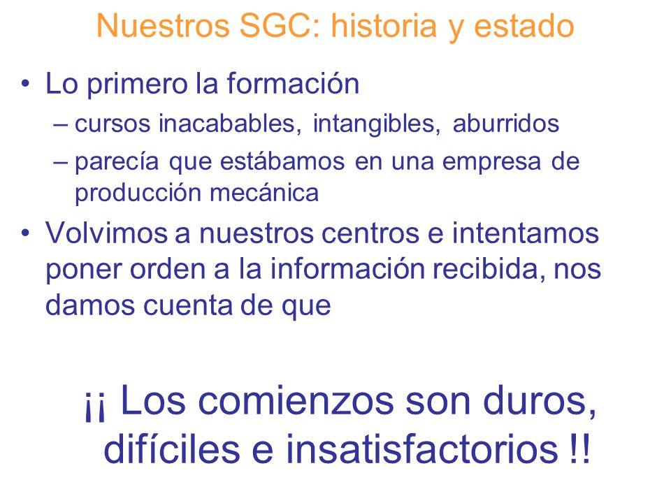 Diapositiva 10 Nuestros SGC: historia y estado Lo primero la formación –cursos inacabables, intangibles, aburridos –parecía que estábamos en una empre