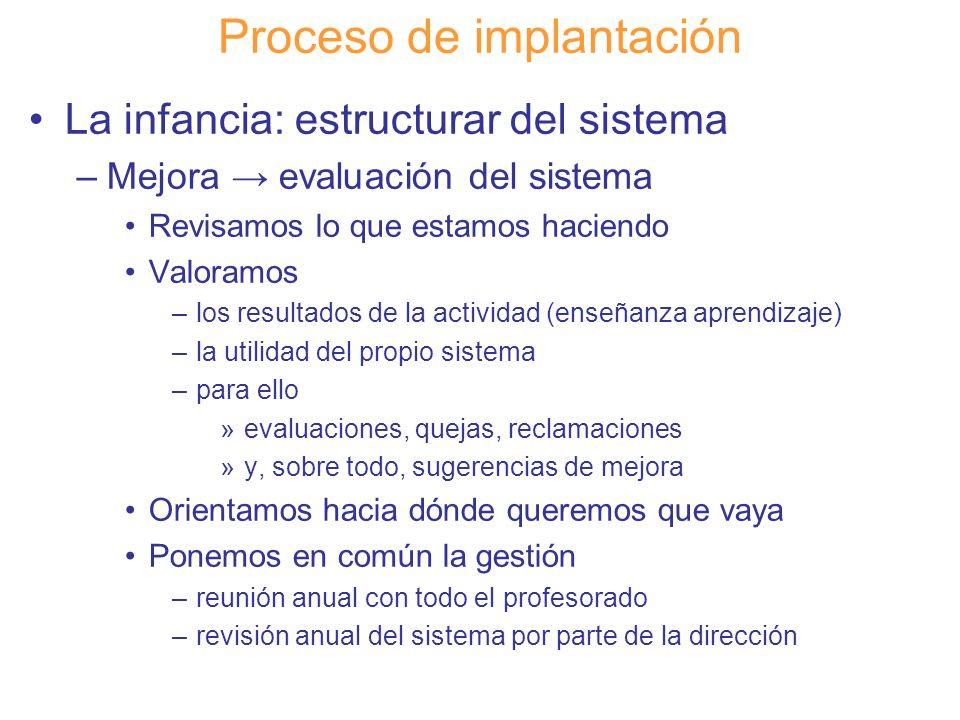 Diapositiva 101 Proceso de implantación La infancia: estructurar del sistema –Mejora evaluación del sistema Revisamos lo que estamos haciendo Valoramo