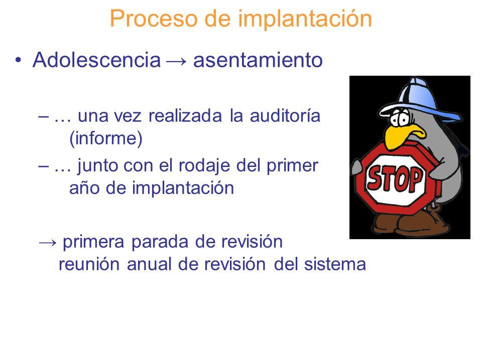 Diapositiva 106 Proceso de implantación Adolescencia asentamiento –… una vez realizada la auditoría (informe) –… junto con el rodaje del primer año de