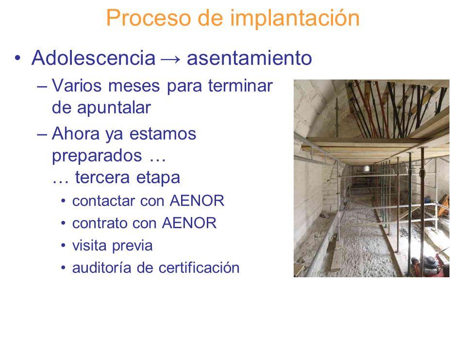 Diapositiva 109 Proceso de implantación Adolescencia asentamiento –Varios meses para terminar de apuntalar –Ahora ya estamos preparados … … tercera et