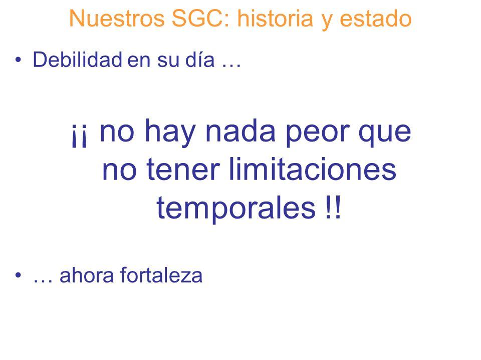 Diapositiva 11 Nuestros SGC: historia y estado Debilidad en su día … ¡¡ no hay nada peor que no tener limitaciones temporales !! … ahora fortaleza