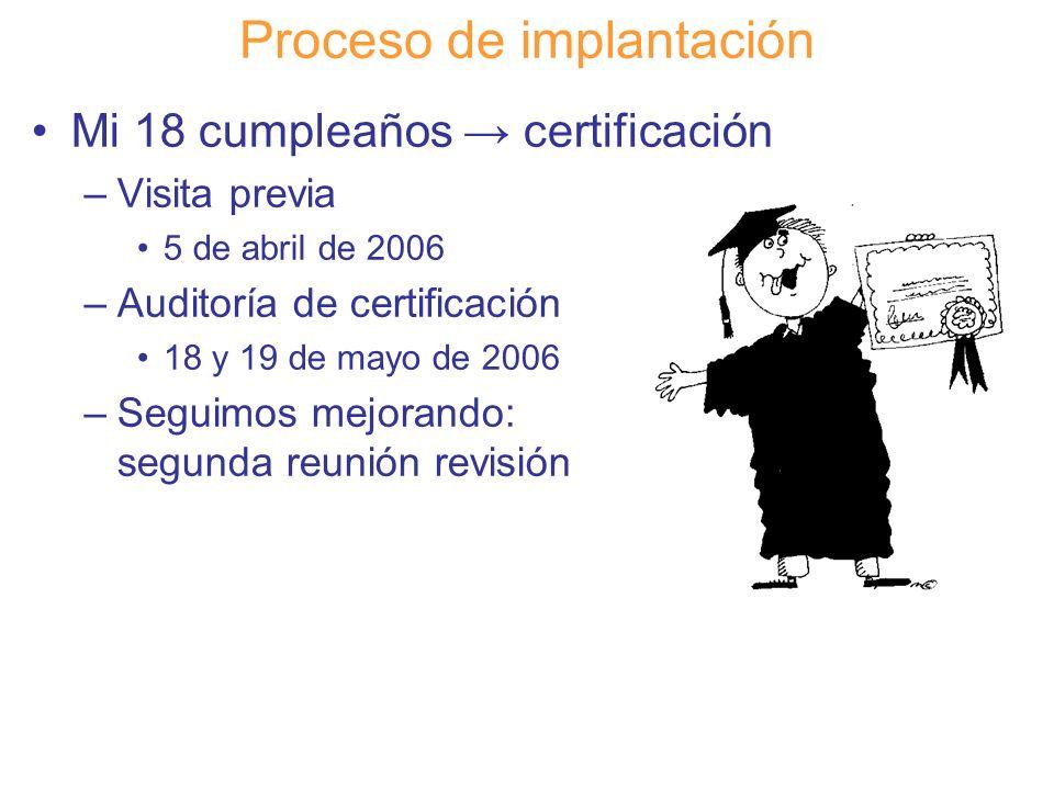 Diapositiva 110 Proceso de implantación Mi 18 cumpleaños certificación –Visita previa 5 de abril de 2006 –Auditoría de certificación 18 y 19 de mayo d
