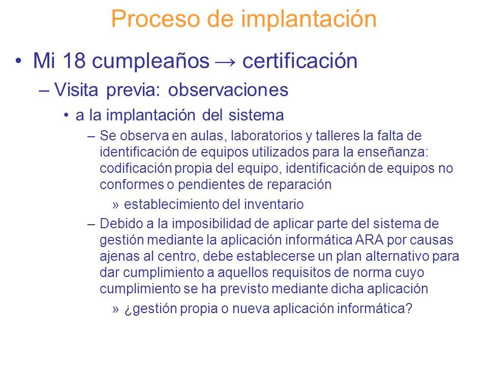 Diapositiva 112 Proceso de implantación Mi 18 cumpleaños certificación –Visita previa: observaciones a la implantación del sistema –Se observa en aula
