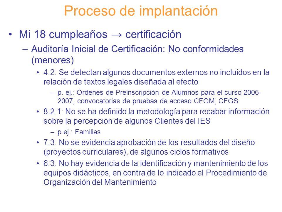 Diapositiva 114 Proceso de implantación Mi 18 cumpleaños certificación –Auditoría Inicial de Certificación: No conformidades (menores) 4.2: Se detecta