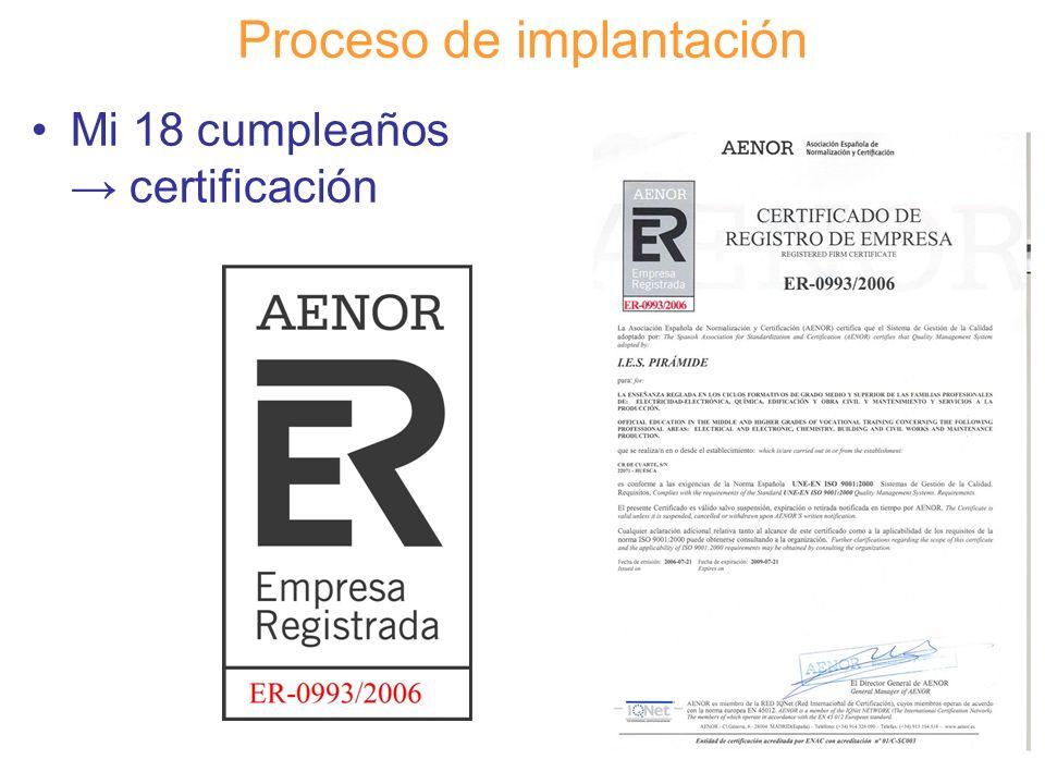 Diapositiva 116 Proceso de implantación Mi 18 cumpleaños certificación