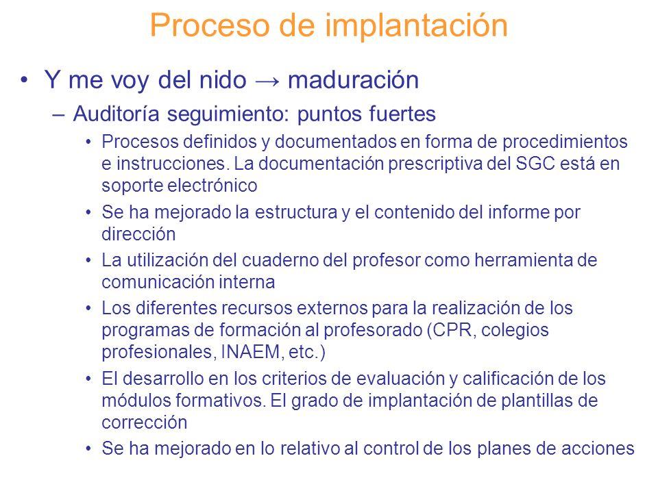 Diapositiva 118 Proceso de implantación Y me voy del nido maduración –Auditoría seguimiento: puntos fuertes Procesos definidos y documentados en forma