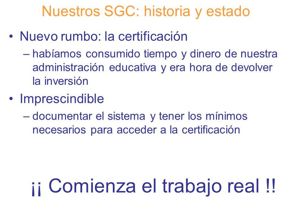 Diapositiva 12 Nuestros SGC: historia y estado Nuevo rumbo: la certificación –habíamos consumido tiempo y dinero de nuestra administración educativa y