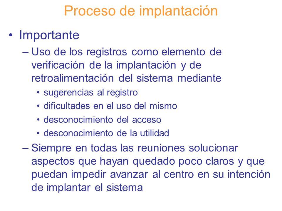 Diapositiva 123 Proceso de implantación Importante –Uso de los registros como elemento de verificación de la implantación y de retroalimentación del s