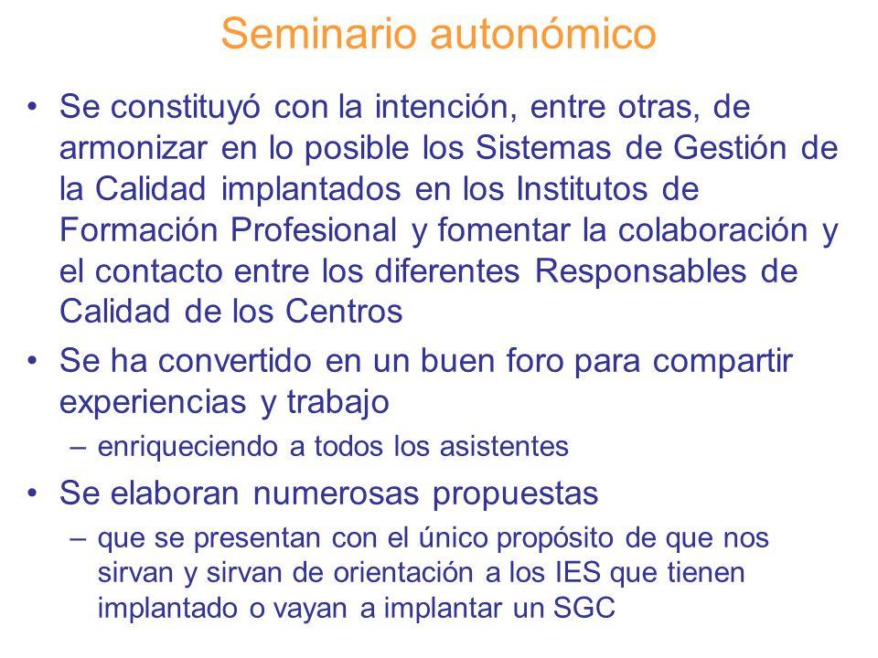 Diapositiva 125 Seminario autonómico Se constituyó con la intención, entre otras, de armonizar en lo posible los Sistemas de Gestión de la Calidad imp