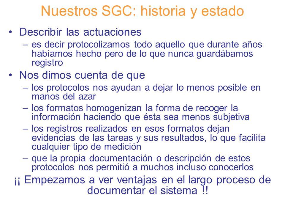 Diapositiva 13 Nuestros SGC: historia y estado Describir las actuaciones –es decir protocolizamos todo aquello que durante años habíamos hecho pero de