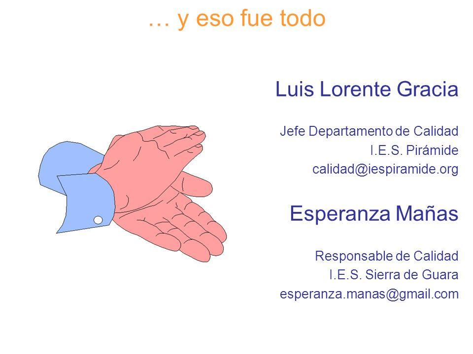 Diapositiva 130 … y eso fue todo Luis Lorente Gracia Jefe Departamento de Calidad I.E.S. Pirámide calidad@iespiramide.org Esperanza Mañas Responsable