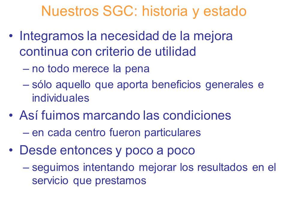 Diapositiva 15 Nuestros SGC: historia y estado Integramos la necesidad de la mejora continua con criterio de utilidad –no todo merece la pena –sólo aq