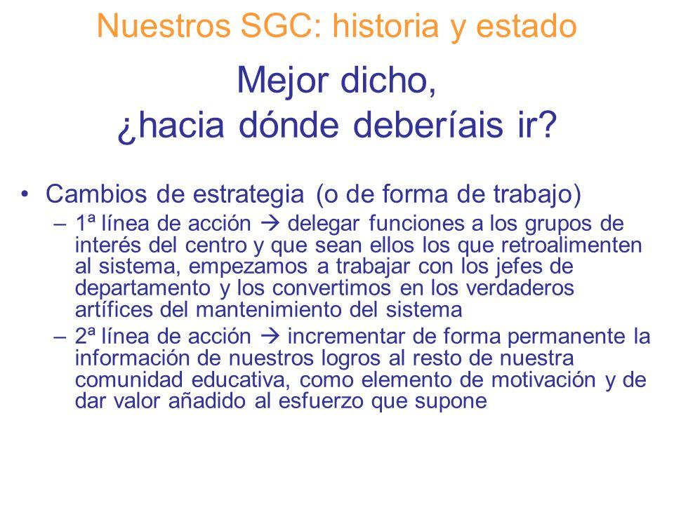 Diapositiva 17 Nuestros SGC: historia y estado Mejor dicho, ¿hacia dónde deberíais ir? Cambios de estrategia (o de forma de trabajo) –1ª línea de acci