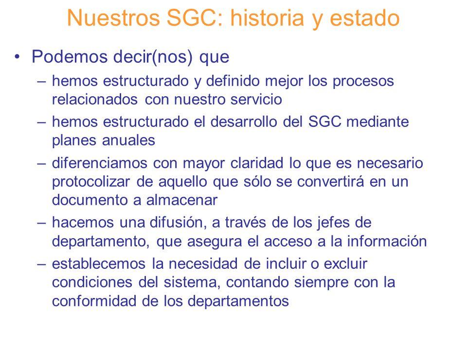 Diapositiva 18 Nuestros SGC: historia y estado Podemos decir(nos) que –hemos estructurado y definido mejor los procesos relacionados con nuestro servi