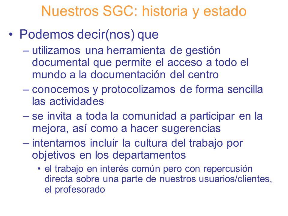 Diapositiva 19 Nuestros SGC: historia y estado Podemos decir(nos) que –utilizamos una herramienta de gestión documental que permite el acceso a todo e