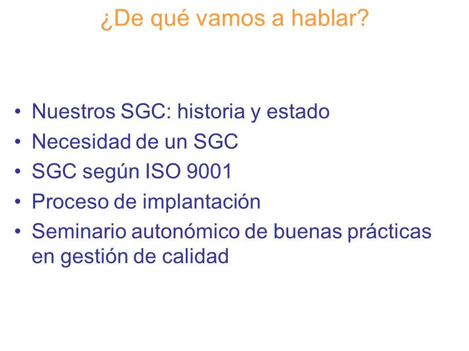 Diapositiva 2 ¿De qué vamos a hablar? Nuestros SGC: historia y estado Necesidad de un SGC SGC según ISO 9001 Proceso de implantación Seminario autonóm