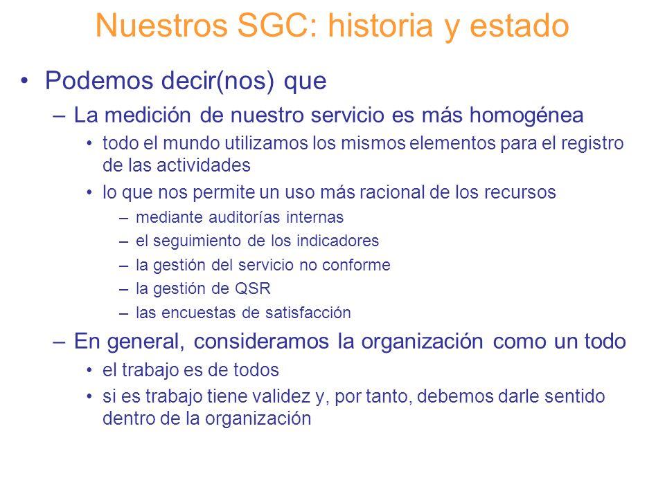 Diapositiva 20 Nuestros SGC: historia y estado Podemos decir(nos) que –La medición de nuestro servicio es más homogénea todo el mundo utilizamos los m