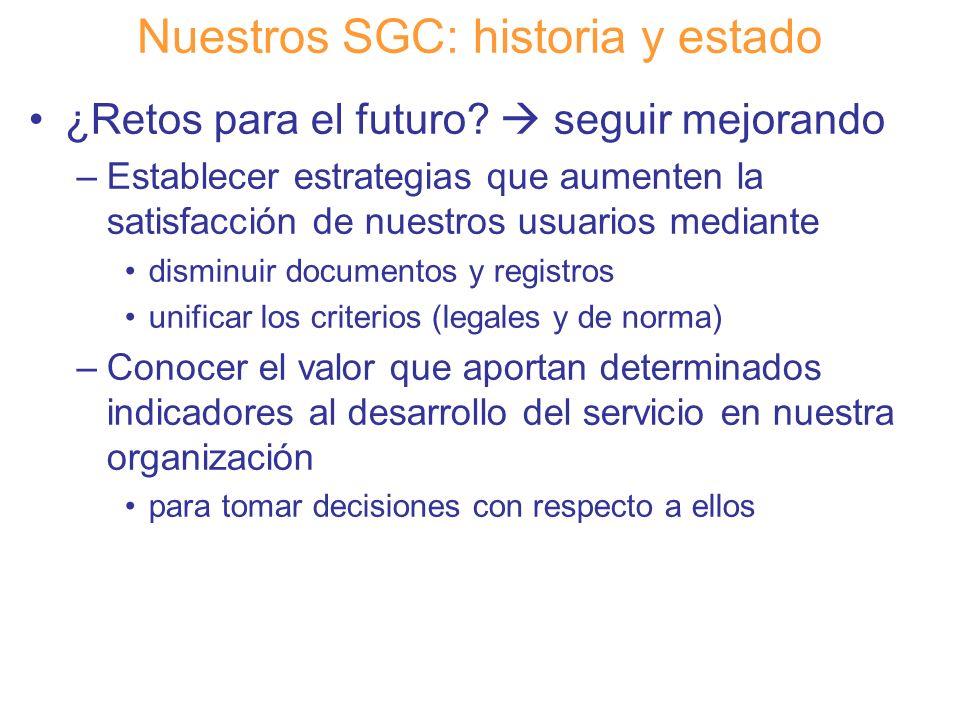 Diapositiva 21 Nuestros SGC: historia y estado ¿Retos para el futuro? seguir mejorando –Establecer estrategias que aumenten la satisfacción de nuestro