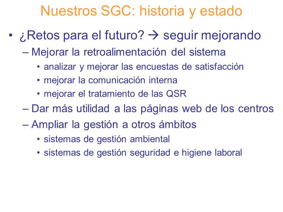 Diapositiva 22 Nuestros SGC: historia y estado ¿Retos para el futuro? seguir mejorando –Mejorar la retroalimentación del sistema analizar y mejorar la