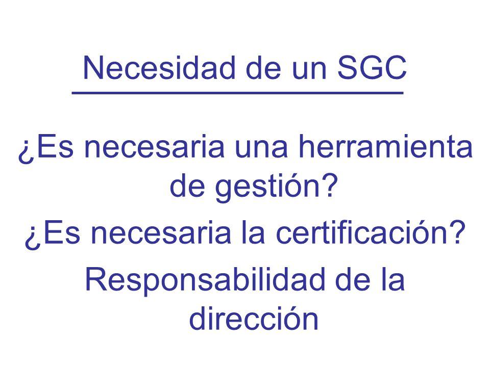 Diapositiva 24 Necesidad de un SGC ¿Es necesaria una herramienta de gestión? ¿Es necesaria la certificación? Responsabilidad de la dirección