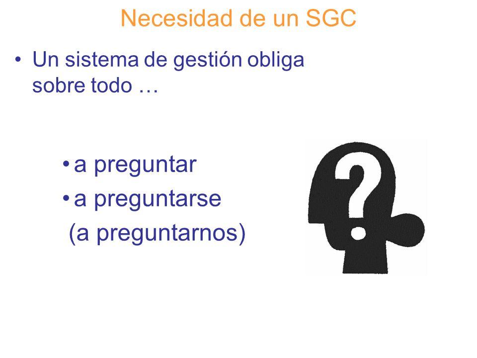 Diapositiva 28 Necesidad de un SGC Un sistema de gestión obliga sobre todo … a preguntar a preguntarse (a preguntarnos)