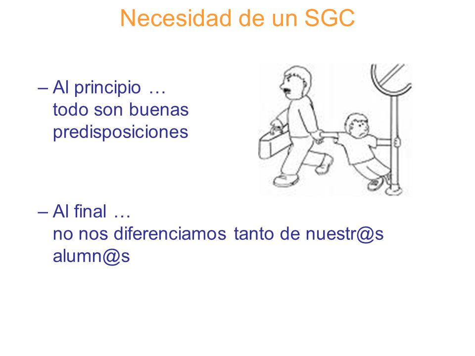 Diapositiva 30 Necesidad de un SGC –Al principio … todo son buenas predisposiciones –Al final … no nos diferenciamos tanto de nuestr@s alumn@s