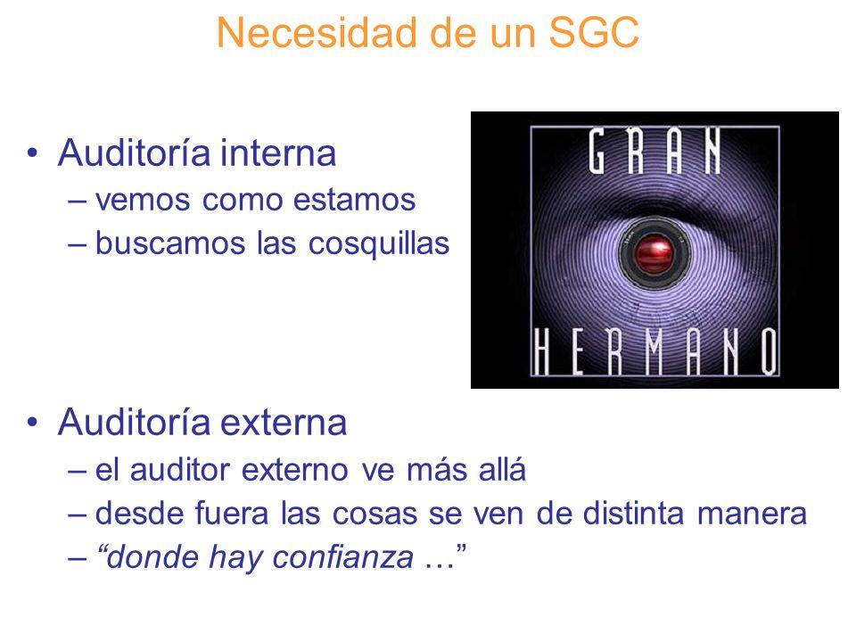 Diapositiva 31 Necesidad de un SGC Auditoría interna –vemos como estamos –buscamos las cosquillas Auditoría externa –el auditor externo ve más allá –d