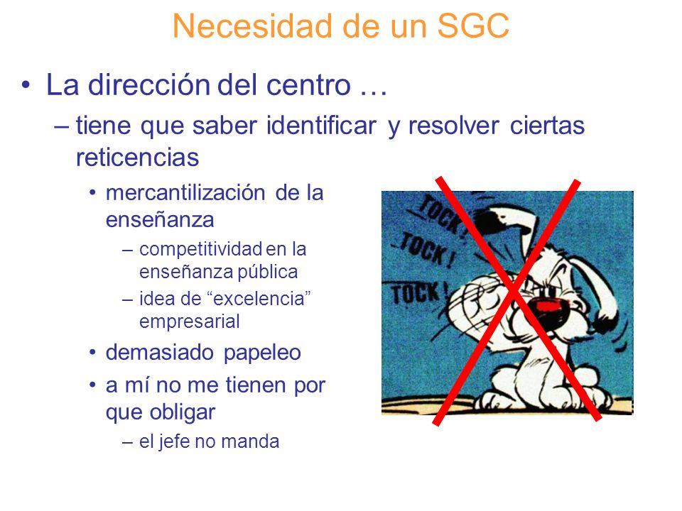 Diapositiva 34 Necesidad de un SGC La dirección del centro … –tiene que saber identificar y resolver ciertas reticencias mercantilización de la enseña