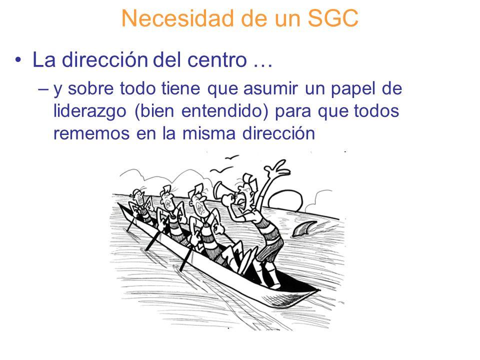 Diapositiva 35 Necesidad de un SGC La dirección del centro … –y sobre todo tiene que asumir un papel de liderazgo (bien entendido) para que todos reme