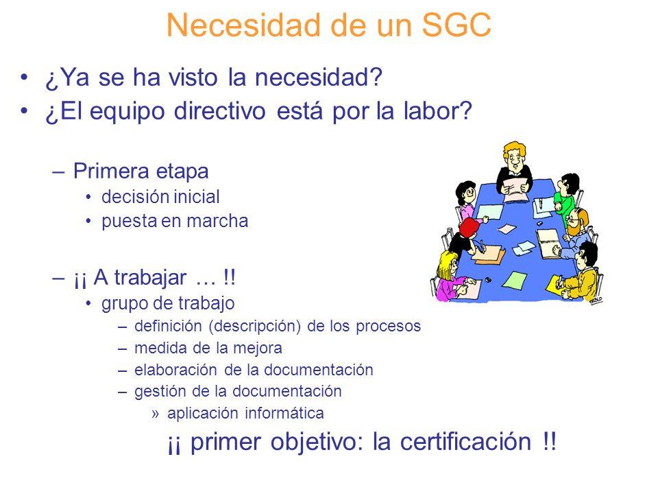 Diapositiva 36 Necesidad de un SGC ¿Ya se ha visto la necesidad? ¿El equipo directivo está por la labor? –Primera etapa decisión inicial puesta en mar