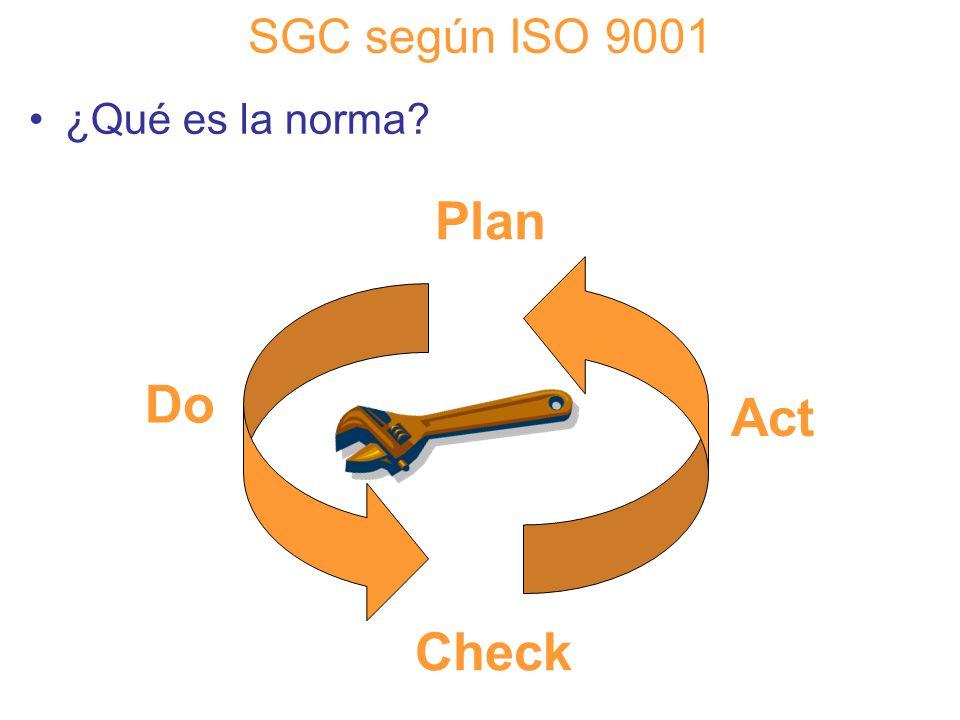 Diapositiva 39 SGC según ISO 9001 ¿Qué es la norma? Plan Do Check Act